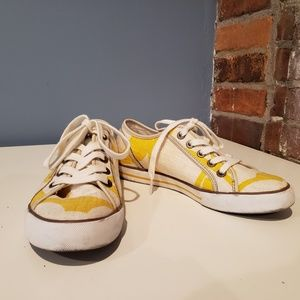 Coach Dalia Yellow & White Canvas Sneakers
